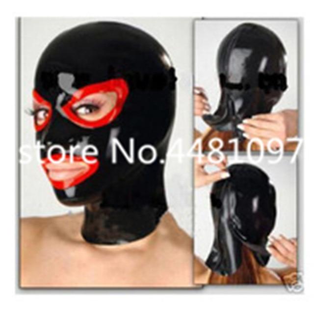 Sexy capa de borracha unisex fetiche máscara de látex cabeça cheia máscara de cosplay com zipper Voltar custom made