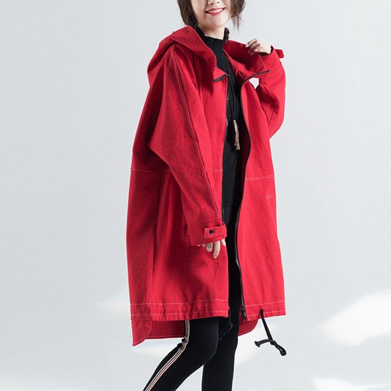 #2948 Spring Autumn Windbreaker Hooded Cardigan Red   Trench   Coat For Women Streetwear Oversize Long Overcoat Women Plus Size
