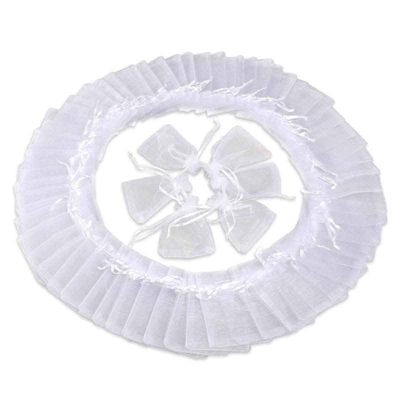 50pcs 13*18cm Organza Drawstring Gift Bags Wedding Favor Bags Jewellery Pouches (White)