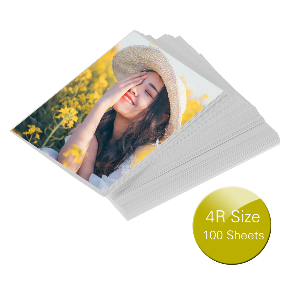 100 Sheets Photo Paper 200gsm Waterproof Resistant High Gloss Finish Surface Quick Dry For Canon Epson HP Color Inkjet Printer