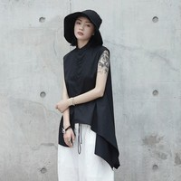 [EAM] 2019 New Spring Summer Stand Collar Sleeveless Black Irregular Hem Split Joint Loose Shirt Women Blouse Fashion JL453