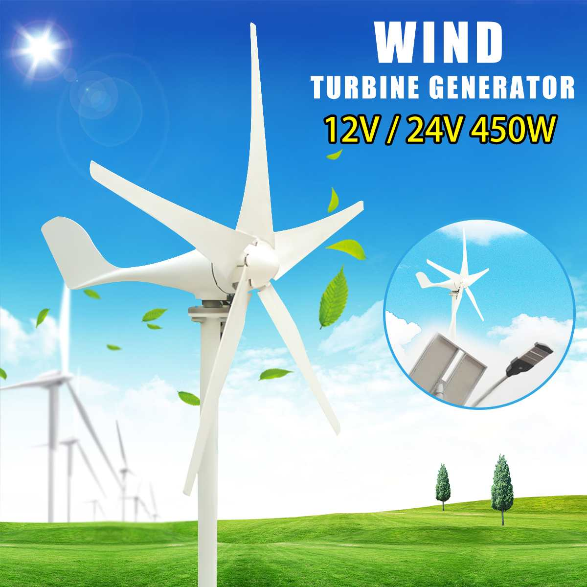 Wind Generator 450W 12/24V Wind Turbines Generator 5 Blades Windmill Miniature for Home Camping with ControllerWind Generator 450W 12/24V Wind Turbines Generator 5 Blades Windmill Miniature for Home Camping with Controller