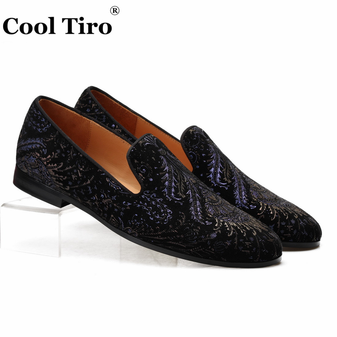 Cool Tiro Black Suede 3D printing Loafers Men's Smoking Slippers Moccasins Wedding Party Dress Shoes Genuine Leather Casual Shoe-in Men's Casual Shoes from Shoes    1