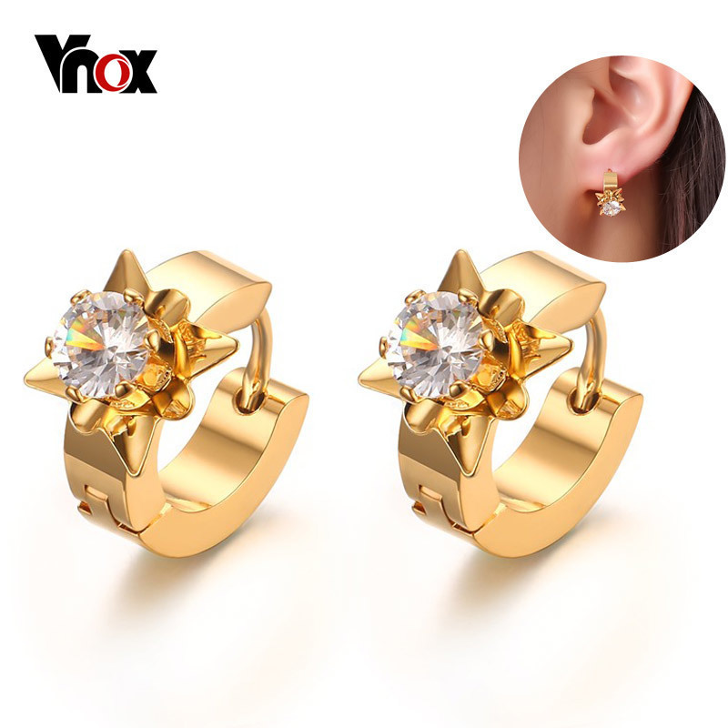 Vnox Stud-Earrings Jewelry Stainless-Steel Gold-Color Women CZ for Brincos Fashion