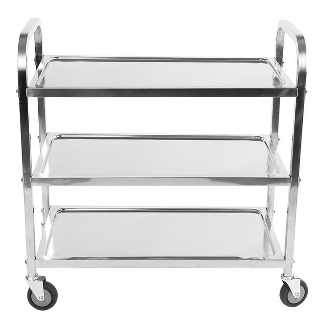 Large 3 Tier Stainless Steel Catering Trolley Cart Serving Clearing with Brake Tools