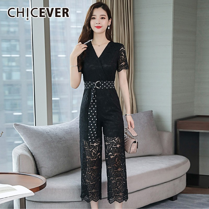 CHICEVER Summer White Lace Print Women Suit V Neck Short Sleeve Pullover Tops With Zipper Fly Ankle Length Wide Leg Pants Sets