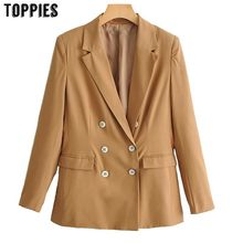 2019 Spring Summer Small Suit Jacket Office Lady Double Breasted Khaki Blazer Notched Collar Leisure Coat(China)