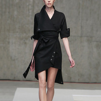 [MENKAY] 2019 Spring Summer Elegant Black Bandage Wrap Shirt Dress Streetwear Korean Clothes Fashion
