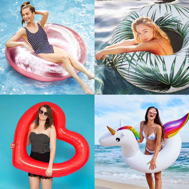 24 Style Giant Swimming Ring Flamingo Unicorn Inflatable Pool Float Swan Pineapple Floats Toucan Peacock Water Toys boia piscina