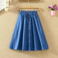 2019 Fashion Women Skirt Vintage Retro High Waist Pleated Midi Skirt Denim Single Breasted Skirt