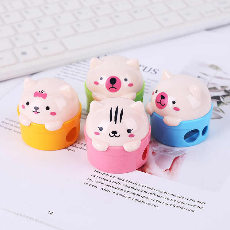 1 Pieces Lytwtw's Stationery Double Holes Cartoon Cat Bear Plastic Pencil Sharpener For Kids Student School Office Supplies Gift