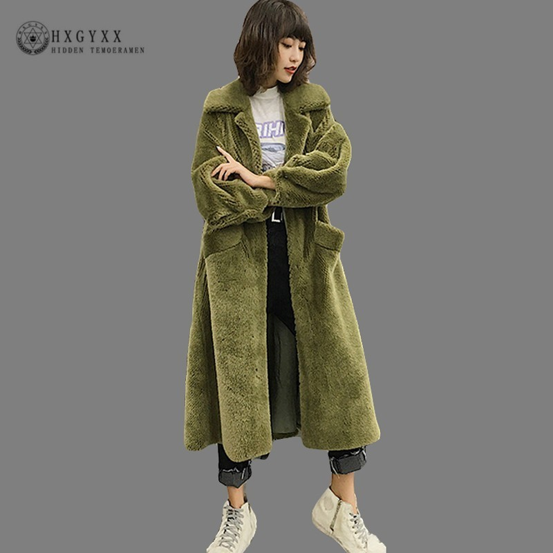 2019 Plus Size Faux Fur Winter Women Coat Long Slim Thick Warm Luxury Plush Jacket Rabbit 's Hair Slim Outwear With Belt OKD601