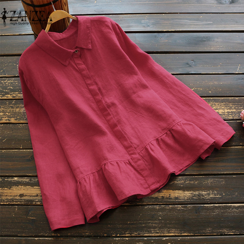 Plus Size ZANZEA Vintage Women Spring Long Sleeve Ruffles Blouse Cotton Linen Shirt Casual Solid Top Femininas Work Blusas 2019