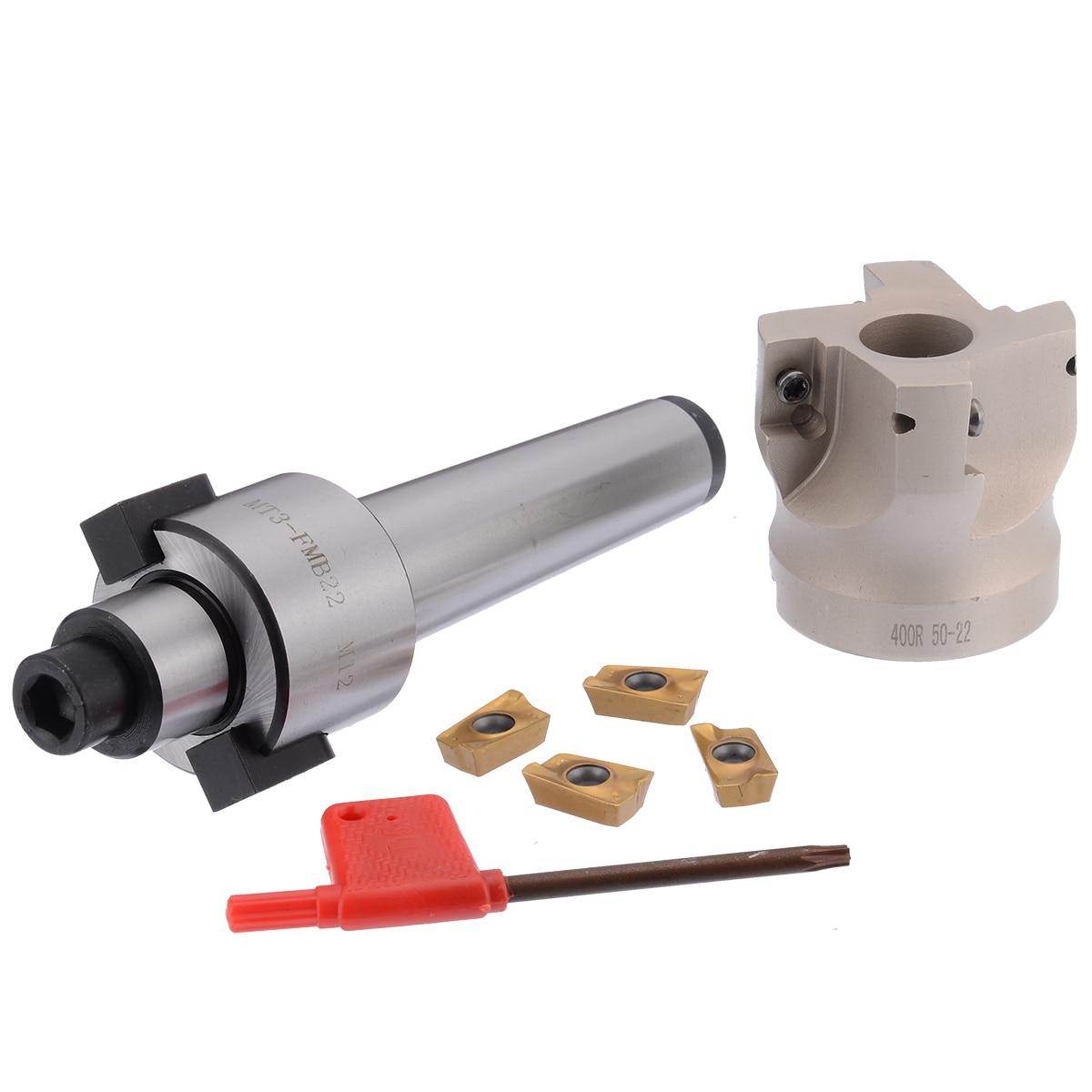 1 pc MT3-FMB-Shank 50 millimetri Viso Fresa Fresatura CNC Cutter + 4 pcs APMT1604 Inserti con Chiave E Box per il Piatto di Taglio