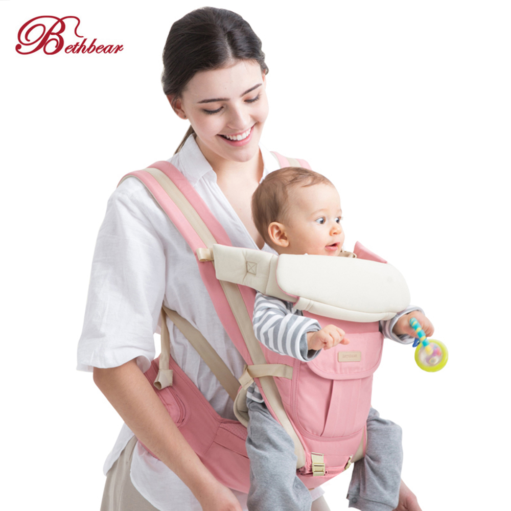 Bethbear 3 In 1 Hipseat Ergonomic Baby Carrier 0 - 36 Months Wrap Infant Sling Backpack Carriers Horizontal Front Facing Carrier
