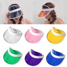 Summer Women Men Unisex  Sun Hat Candy Color Transparent Empty Top Plastic PVC Sunshade Visor Caps Bicycle Sunhat wholesale