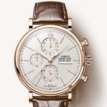 Switzerland LOBINNI Men Watches Luxury Brand Perpetual Calender Auto Mechanical Mens Clock Sapphire Leather relogio L13019-6