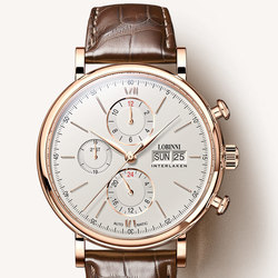 Switzerland LOBINNI Men Watches Luxury Brand Perpetual Calender Auto Mechanical Men's Clock Sapphire Leather relogio L13019-6
