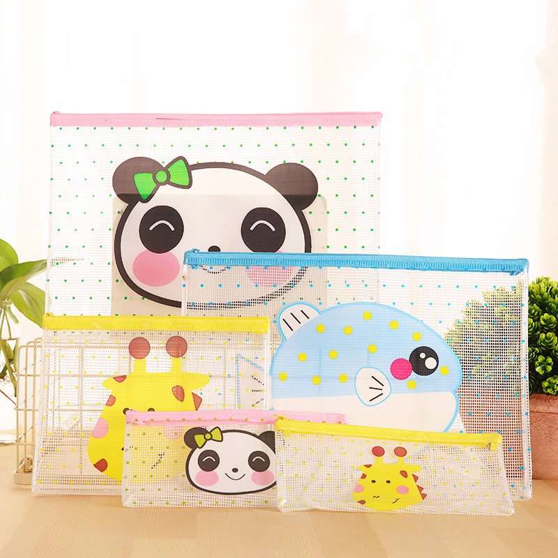 Lovely Creative Cartoon Transparent Mesh Bag Document Bag With Zipper Multi-size Pencil Case File Folder School Stationery