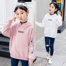 купить Girls Sweater kids clothes Spring Autumn New Cotton Long Sleeve Print Baby Clothes 2019 Embroidered Hooded Long Loose Sweatshirt дешево