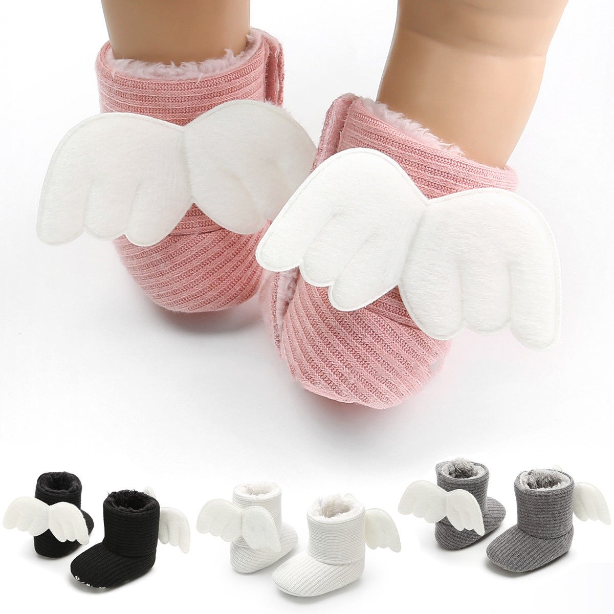 Soft Baby Winter Booties Socks Newborn Warm Gifts Baby Cute Crib Shoes Little Kids Lovely Shoes With Angle Wings 0-18Months