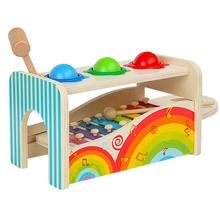 2 in 1 Wooden Musical Instrument Hammering Ball Xylophone Montessori Early Learning Educational Sensory Toys for Children Kids