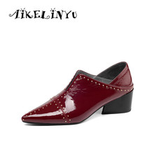 AIKELINYU New 2019 Casual Pumps Genuine Leather Sexy Pointed Toe Fashion Rivet Shoes Spring Metal Decoration Handsome Shoe
