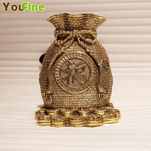 Chinese style bronze brass money bag lucky decoration business hotel place crafts ornaments gifts