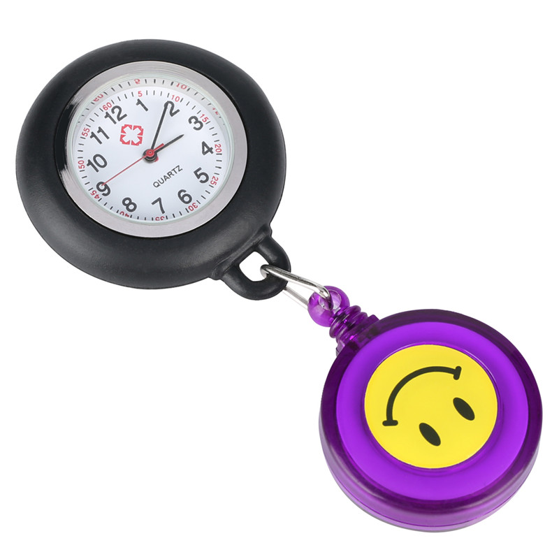 Yellow Smiling Face Pocket Watch For Ladies Retractable Rope With Clip Quartz Pocket Watch Retro For Nurse Gift For Pocket Watch