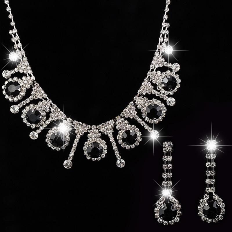 YFJEWE 2017 afrikanska pärlor smycken uppsättningar silver pläterade svart kristall smycken halsband set örhängen bröllop brud brudtärna N161