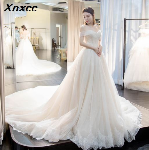 Xnxee White Lace Appliques Ball Gown Cheap  Dresses 2019 Off The Shoulder Short Sleeves Bridal Gowns