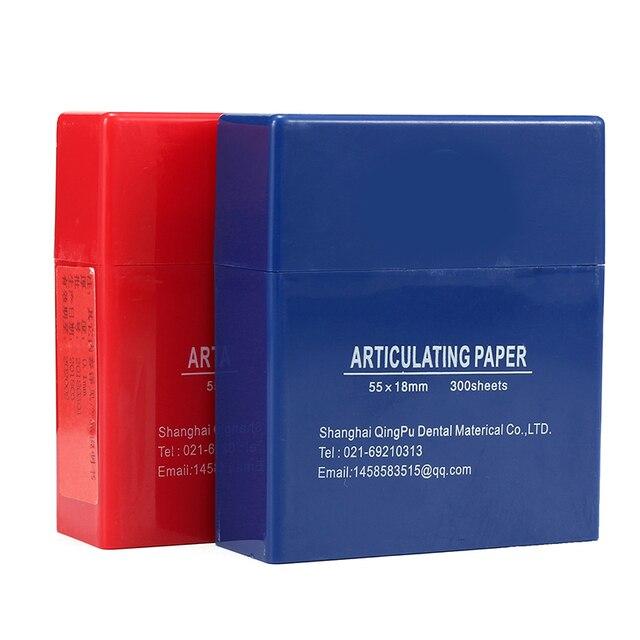 300 hojas/caja articulador Dental de tiras de papel rojo/azul laboratorio Dental herramienta de Cuidado Oral blanqueamiento Dental dentista Material nominal