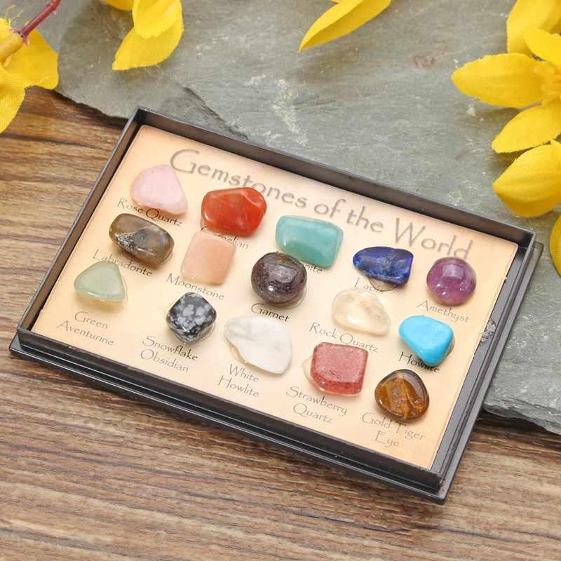 1 paczka DIY kamień kolekcja Rock Mix klejnoty kryształy naturalne rudy mineralne okazy kamień z pudełkiem ozdoby wystrój domu