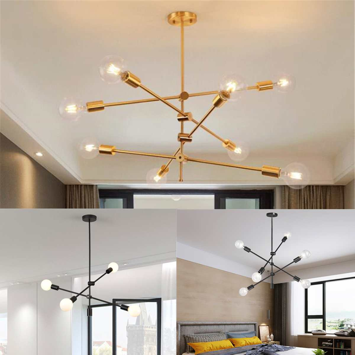 Nordic Modern LED Light E27 Chander Lights Iron Chandeliers Industrial Edison 4 6 8 Lights Chandelier Indoor Lighting Gold LampNordic Modern LED Light E27 Chander Lights Iron Chandeliers Industrial Edison 4 6 8 Lights Chandelier Indoor Lighting Gold Lamp