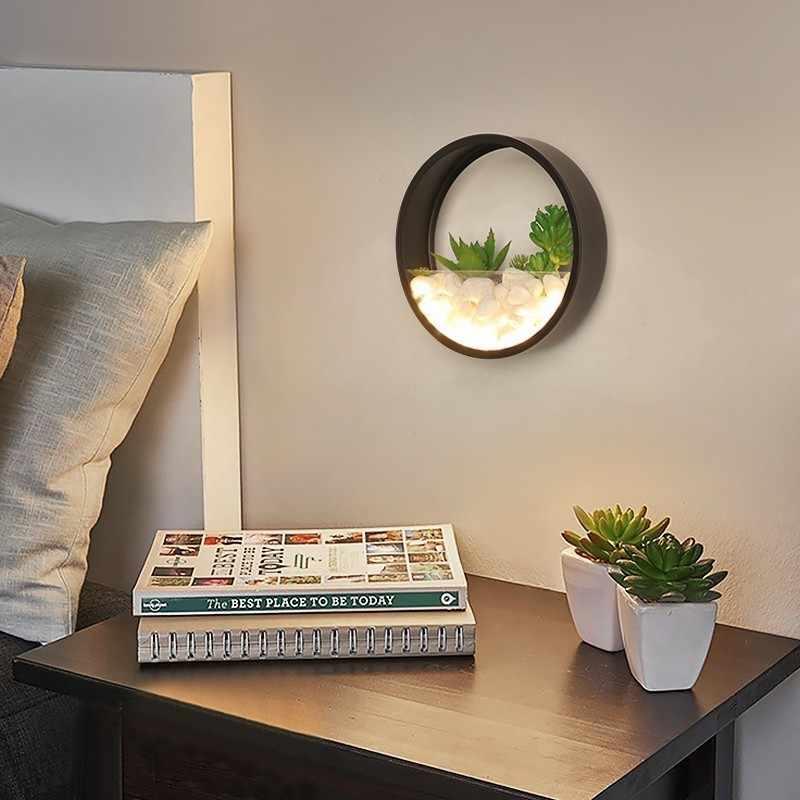 Новый современный светодиодный настенный светильник для спальни прикроватный Декор металлический настенный светильник белый черный свет круглый настенный искусственный камень с цветами