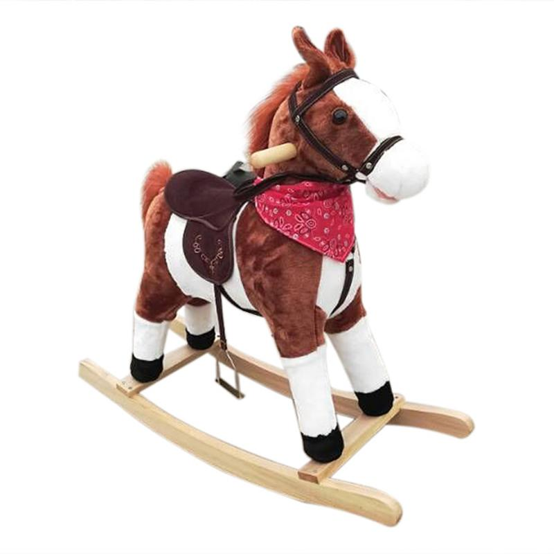Kids Plush Ride On Pony Rocking Horse Wooden Toy with Sound Funny Moving Music Animal Ride Horse for Baby Girl Boy Gift