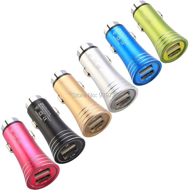De Metal cargador de coche Universal 2 Amp cargadores adaptador para iphone 6 7 plus samsung s7 s8 Nota 8 gps mp3