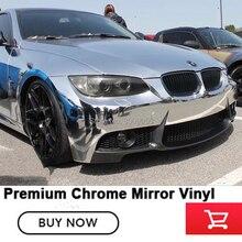 Премиум растягивается Хромированная пленка для оклеивания автомобилей серебряное зеркало полу-удобная ПВХ Германии на основе растворителя Низкая начальное схватывание клей