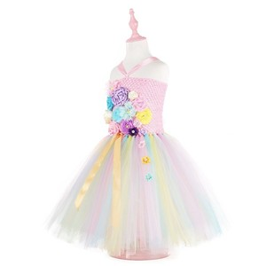 Image 3 - Girls costume flower wedding dress children unicorn dress girl tutu princess dress kids cute dresses Contains Headband ZH 1904