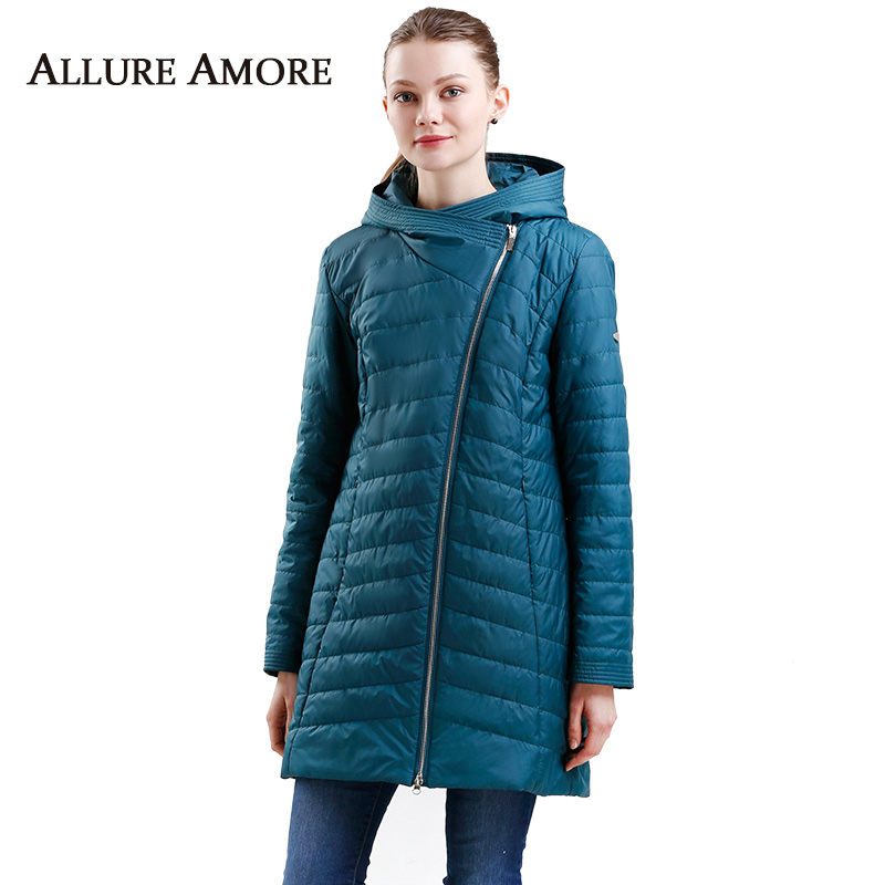 Spring warm women jacket hood office lady Windproof   parka   women coat fashion big size designer thin cotton jacket Allure Amore