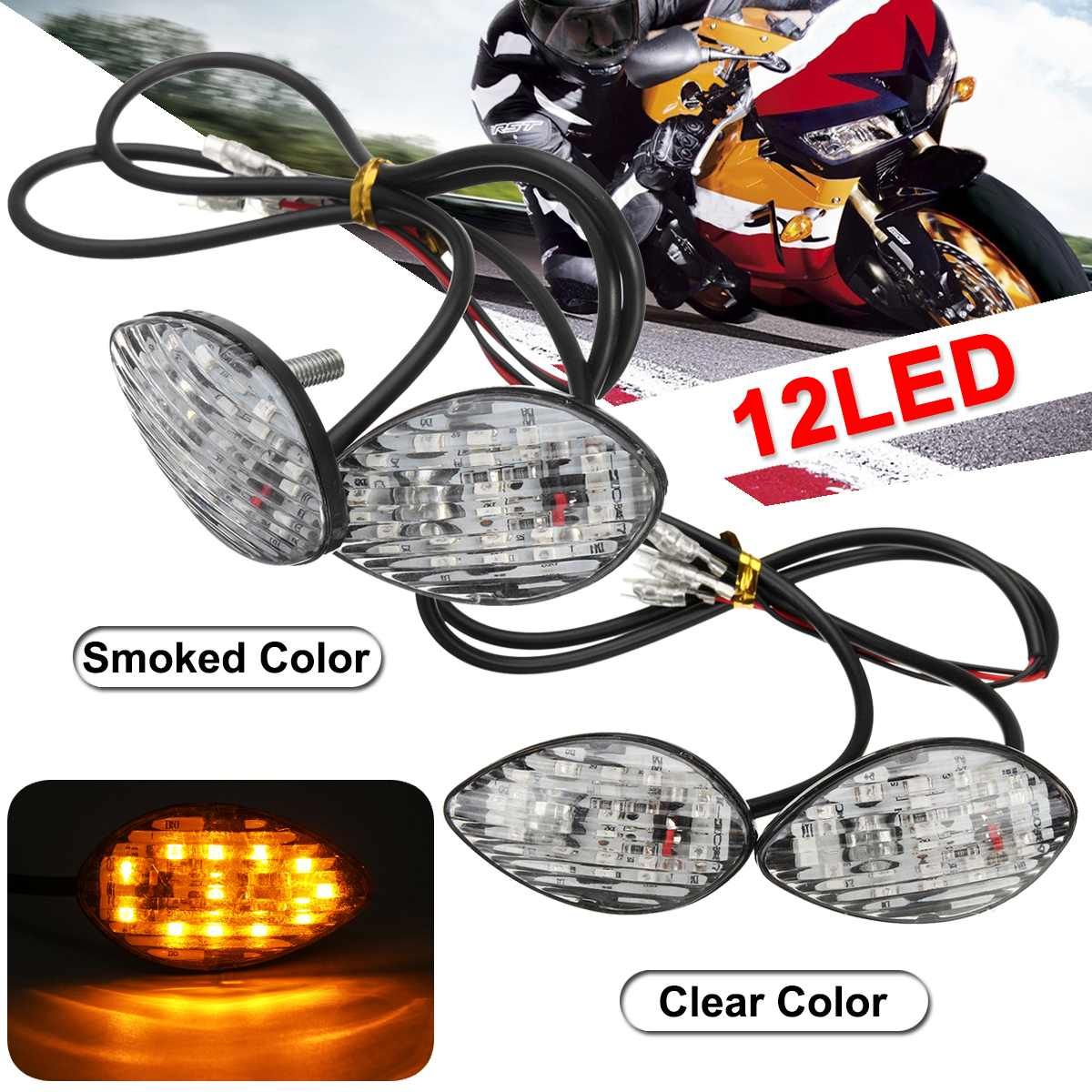 Pair Motorcycle Turn Signal Light Blinker Indicator Lamps For Honda CBR 600RR 1000RR 600F4I 954