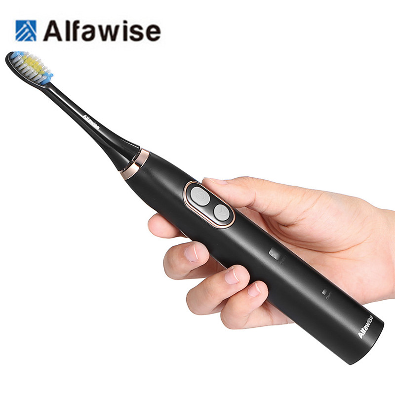 Alfawise BH-126 Sonic Electric Toothbrush IPX7 waterproof Smart Timer 5 Brushing Modes with 2 soft Brush Heads oral care health
