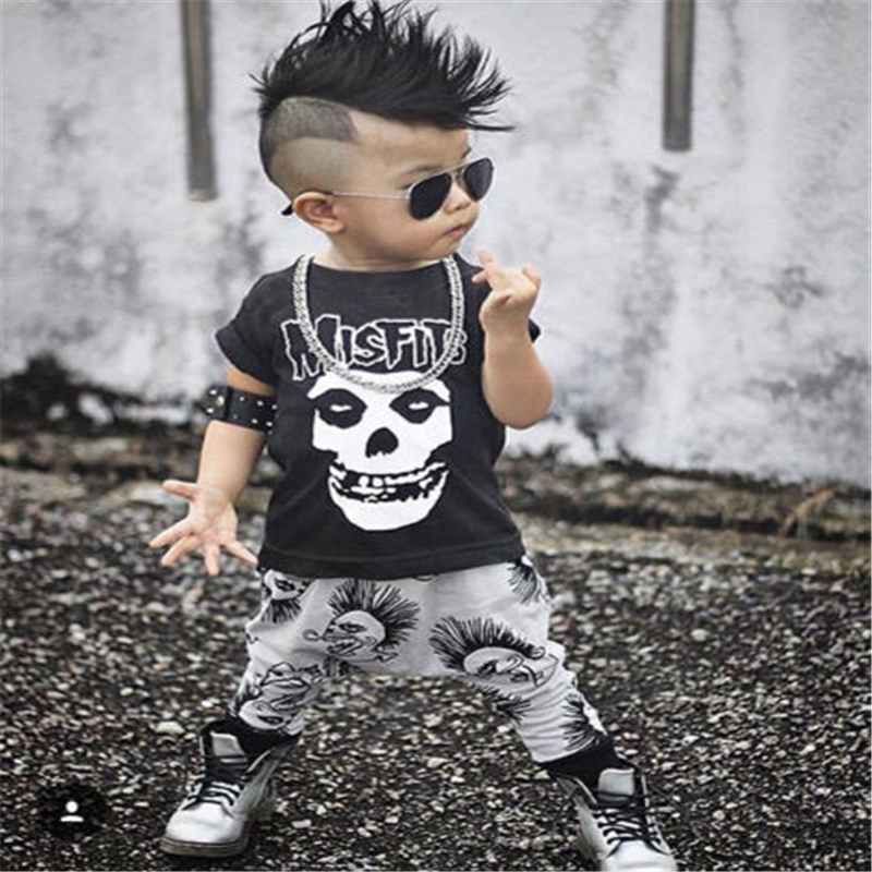 CANIS 2019 New 0-3Y Newborn Baby Boy Clothes Infant Toddler Kids Black Skull T-Shirt Top + Pant 2pcs Outfit Kids Clothing Set