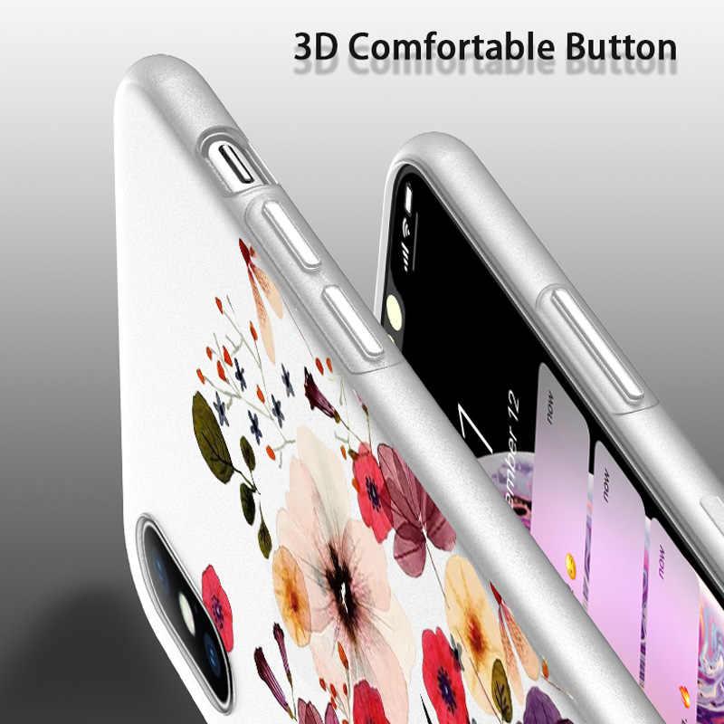 USLION Matte กรณีดอกไม้สำหรับ iPhone 11 Pro Max 8 7 6 6S Plus โทรศัพท์สำหรับ iPhone X XS XR Xs Max Soft TPU ฝาครอบซิลิโคน