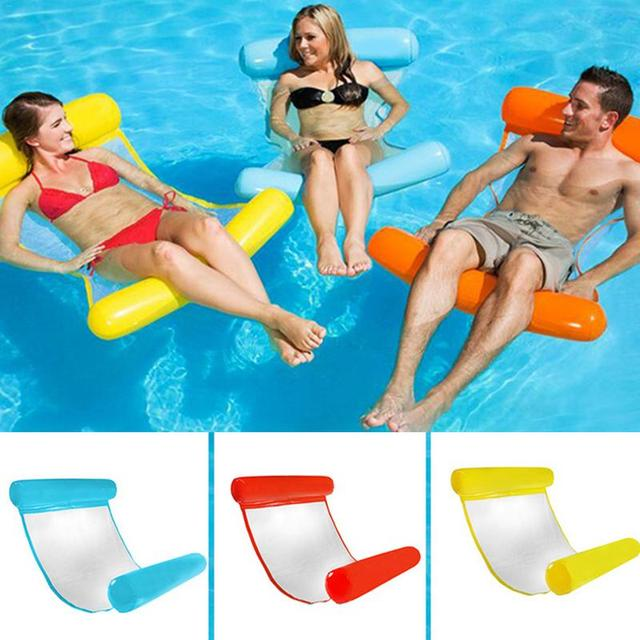 Hammock Pool Lounger Float Inflatable Rafts Air Lightweight Floating Chair Foldable Compact Dual-Use Backrest Swimming Pool Mat