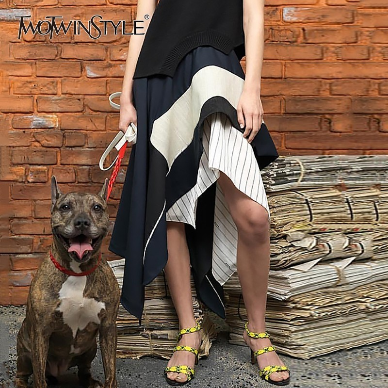 TWOTWINSTYLE Spring Casual Irregular Skirt Women High Waist Striped Hit Color Midi Skirts Female 2019 Fashion