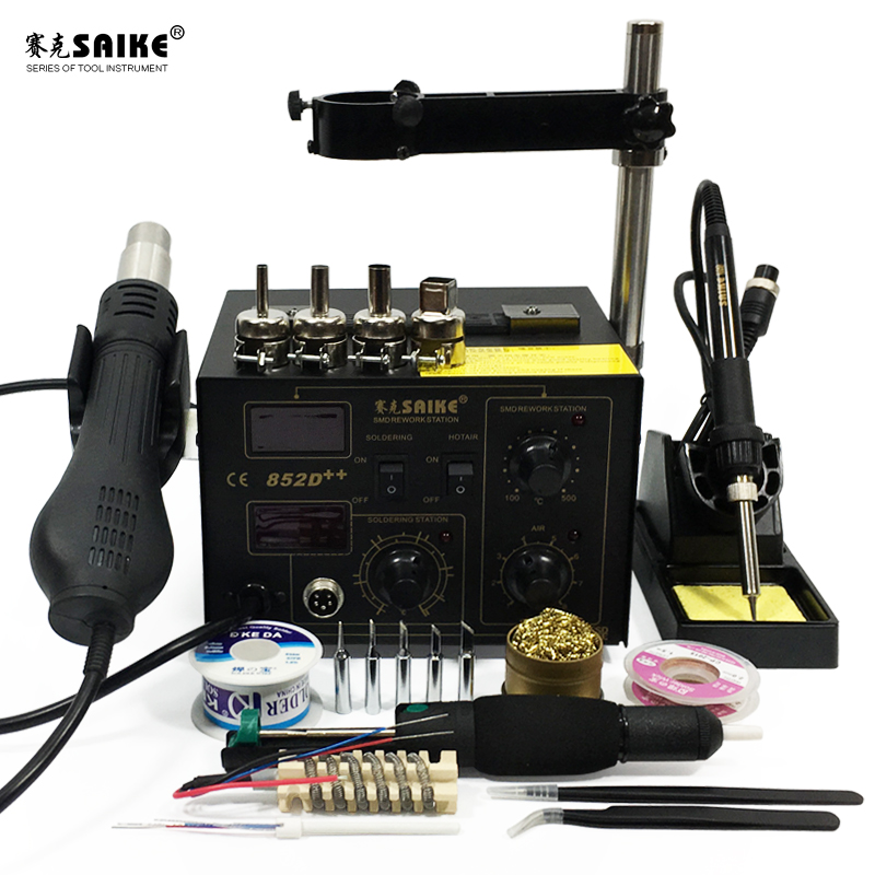 SAIKE 852D++ 2 In 1 SMD Rework Station Hot Air Gun Soldering Station Desoldering Station 220V 110V