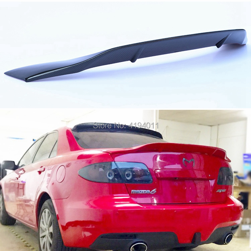 Car Styling High Quality FRP Carbon Fiber Unpainted Color Rear Spoiler Trunk Lip Wing For Mazda 6 2004-2014 Spoiler