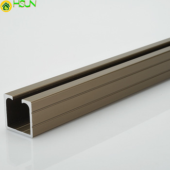 Aluminum alloy universal sliding door silent hanging rail electrophoresis champagne color rail hanging wheel track
