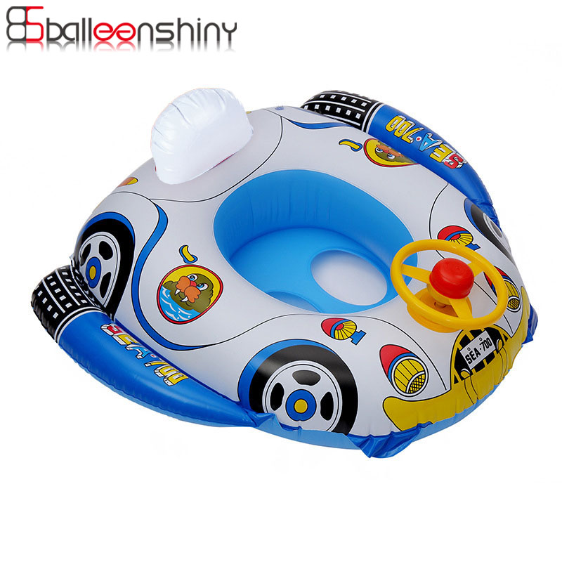 Balleenshiny Pool Floaties Infant Swimming Ring Steering Wheel Horn Swimming Boat PVC Thick Inflatable Baby Swiming Pool